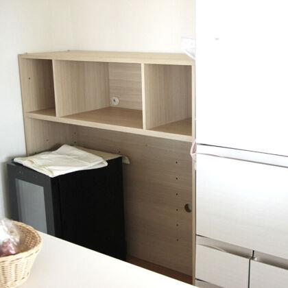 壁面収納家具の高さをリサイズしてキッチンボードにリメイク
