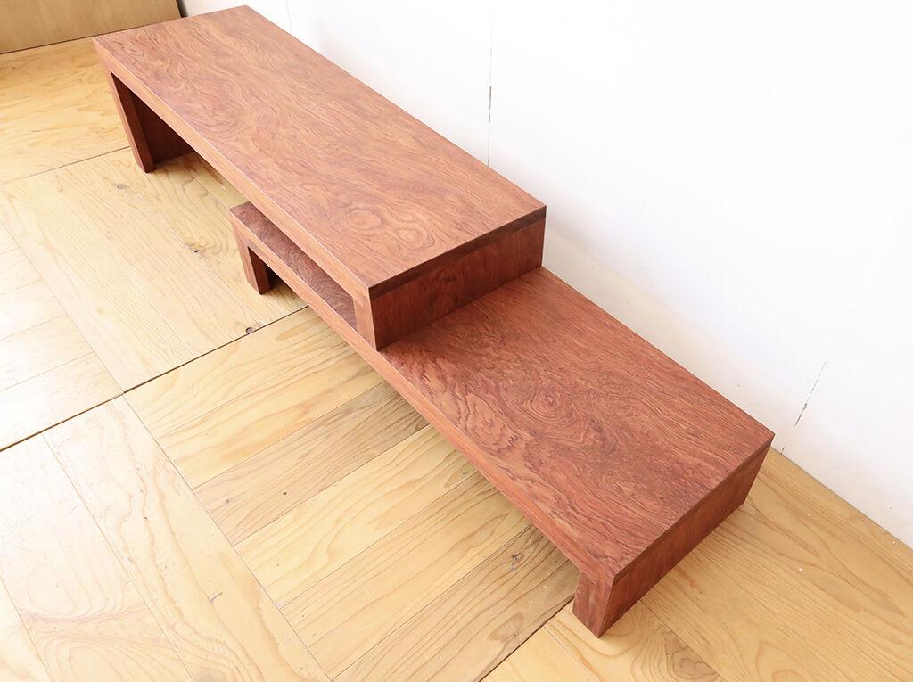 無垢ブビンガの座卓からリメイクしたオープンタイプのテレビ台