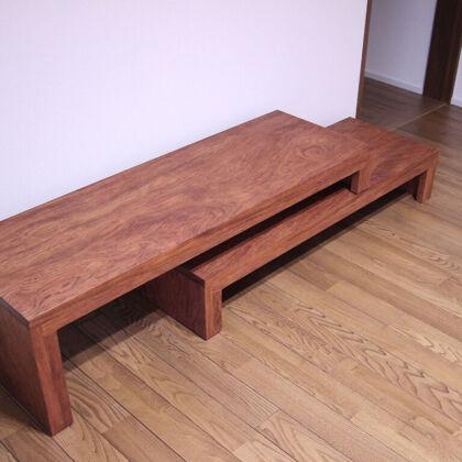 座卓からリメイクしたテレビ台をお客様のご新居に納品